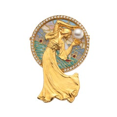 Plique-a-Jour Enamel and Diamond Brooch
