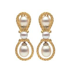 Buccellati Cultured Pearl and 18 Karat Gold Earrings