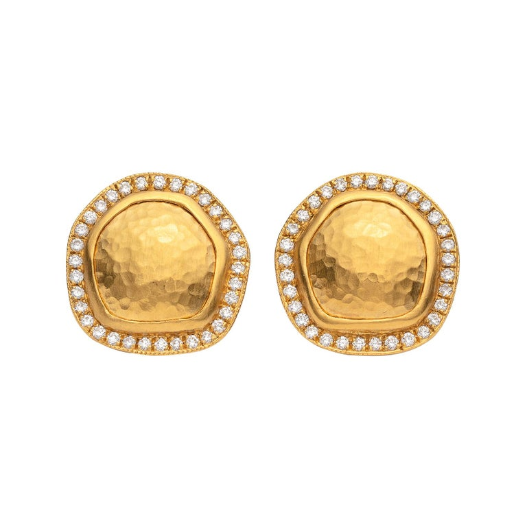 Lika Behar Diamond And 22 Karat Gold Earrings For