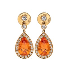Mandarin Garnet and Diamond Earrings