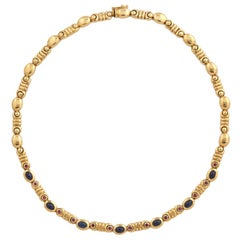 Salavetti Cabochon Sapphire Ruby Gold Necklace