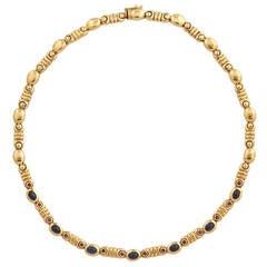 Salavetti Cabochon Sapphire Ruby Gold Necklace