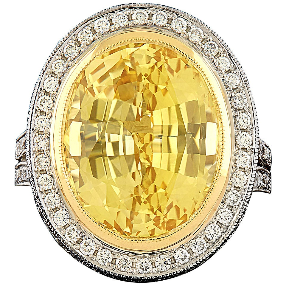 14.95 Carat Unheated GIA Certified Yellow Sapphire Diamond Platinum Ring