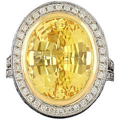 14.95 Carat Unheated GIA Certified Yellow Sapphire Diamond Platinum Ring