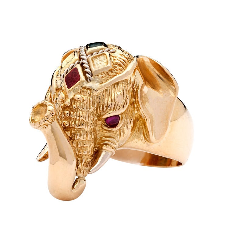 yellow gold elephant ring at 1stdibs