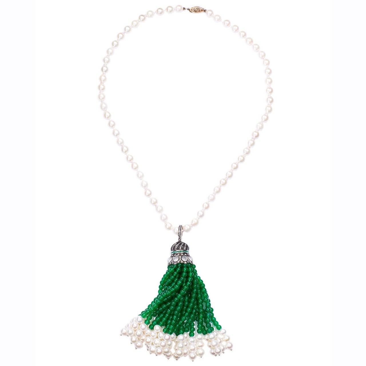 Cultured Pearl Moonstone Diamond Gold Sautoir Necklace