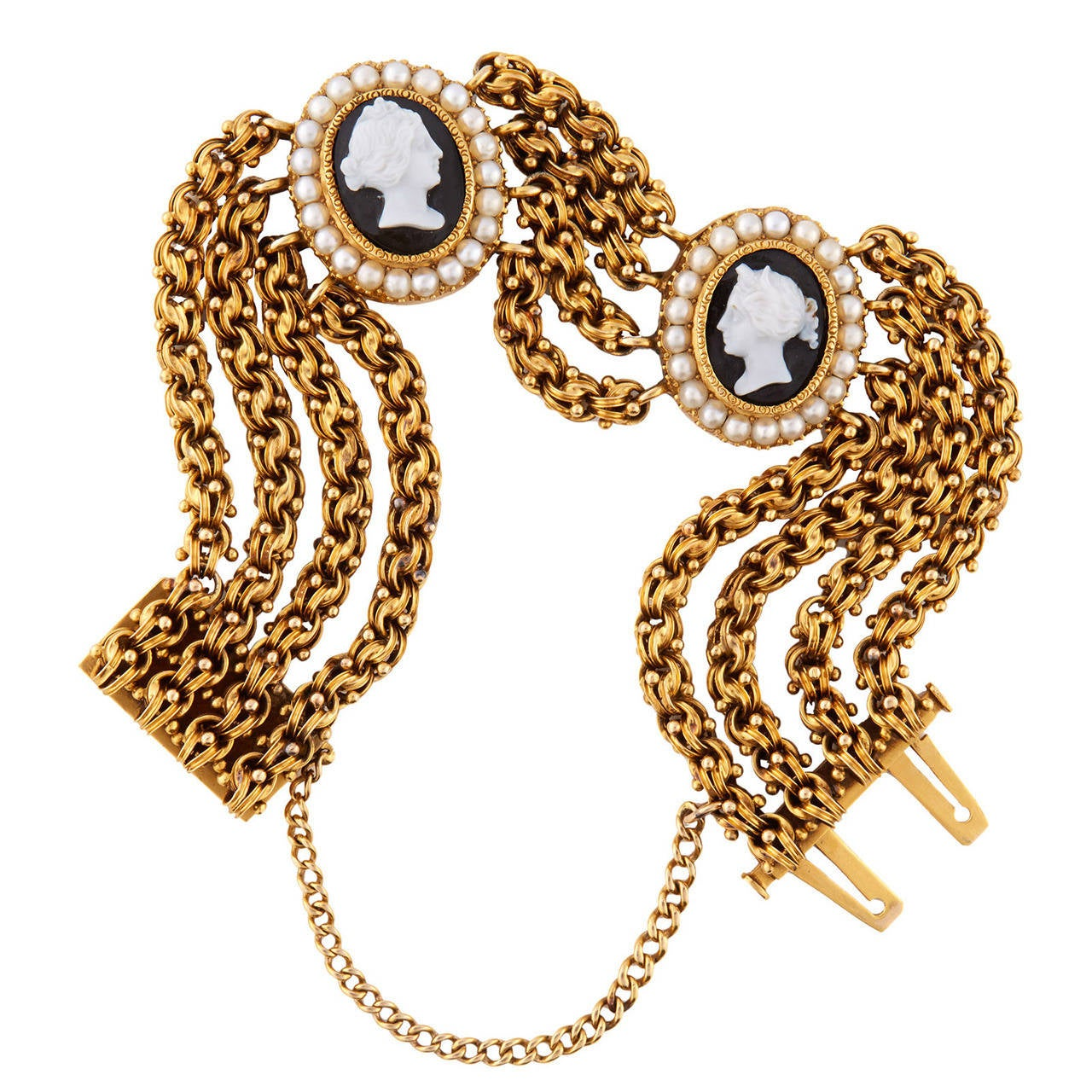 Multi-Strand Onyx Pearl Gold Cameo Chain Bracelet For Sale