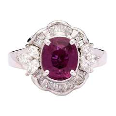 Purplish Red Cushion Cut Ruby Ring