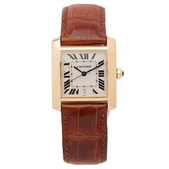 Cartier Yellow Gold Midsize Automatic Tank Francaise Wristwatch