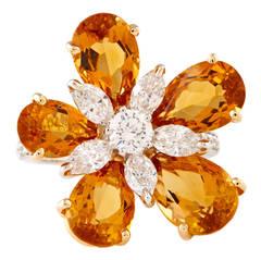 Luca Carati Citrine Diamond Gold Flower Ring