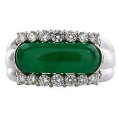GIA Cert Natural Translucent Jadeite Jade Ring circa 1950s-60s