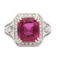 6.07 Carat Natural Pink Sapphire Ring