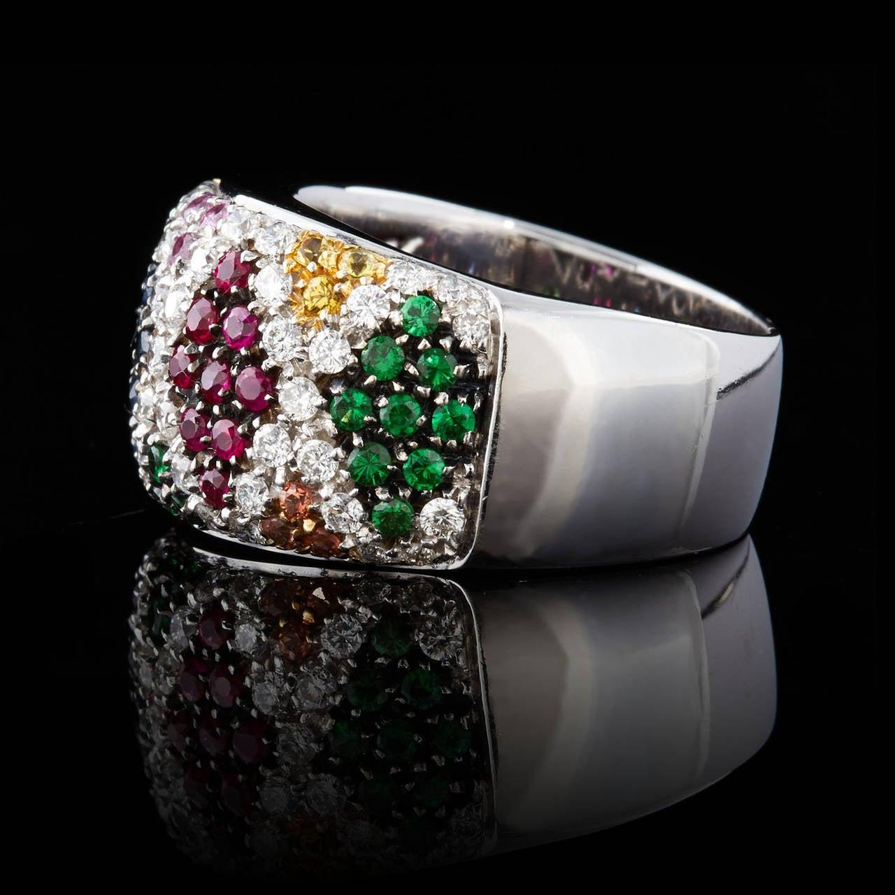 salavetti multi colored pave gemstone diamond ring at 1stdibs. Black Bedroom Furniture Sets. Home Design Ideas