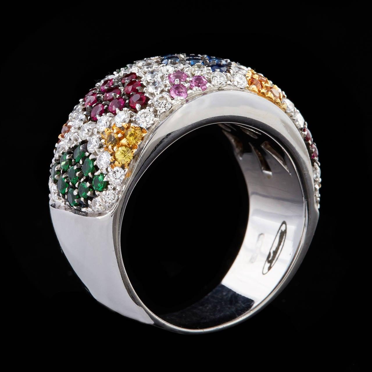 Salavetti Multi-Colored Pave Gemstone Diamond Ring At 1stdibs
