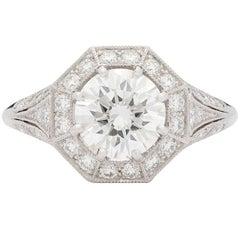 Colorless 1.69 Carat GIA Certified Diamond Platinum Ring