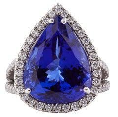 12.67 Carat Natural Vivid Blue Tanzanite Platinum Cocktail Ring