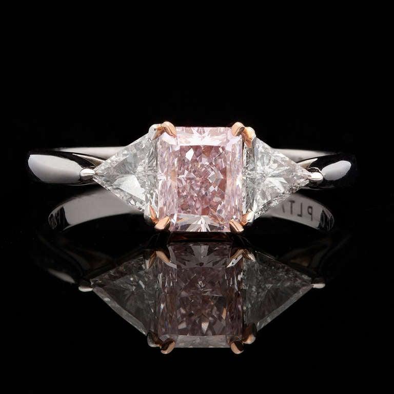 J E Caldwell GIA Natural Fancy Purplish Pink Diamond Platinum Engagement Rin
