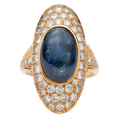 4.00 Carat Sapphire Cabochon Diamond Gold Ring