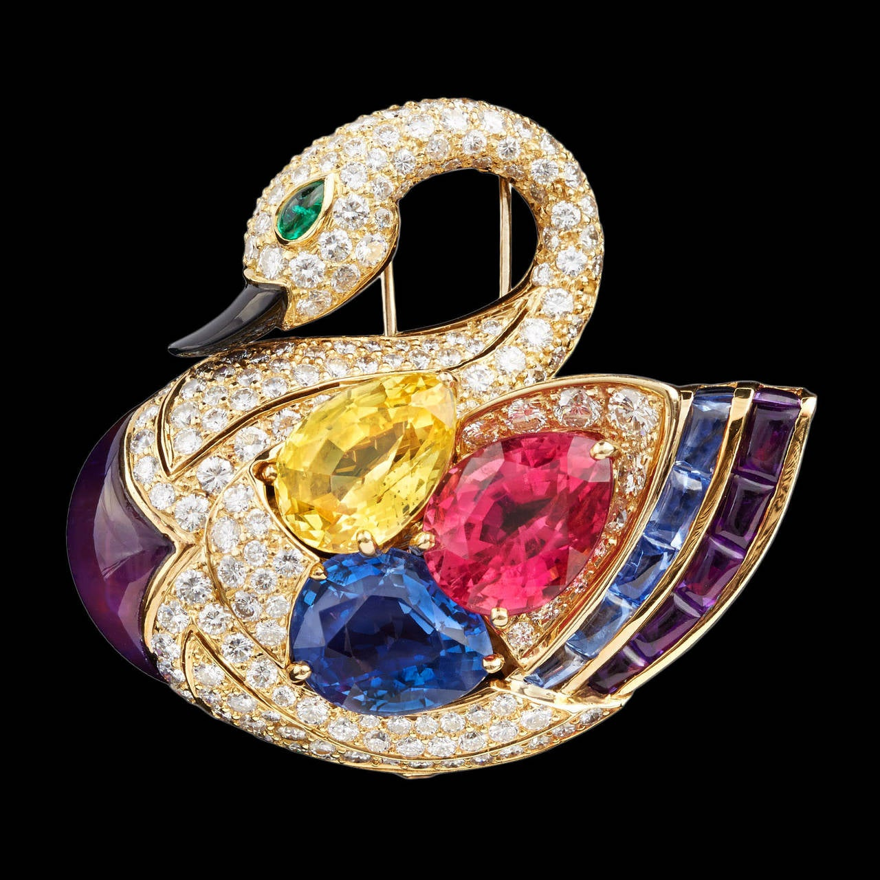 Superb Bulgari Precious Gems Gold Swan Brooch 2
