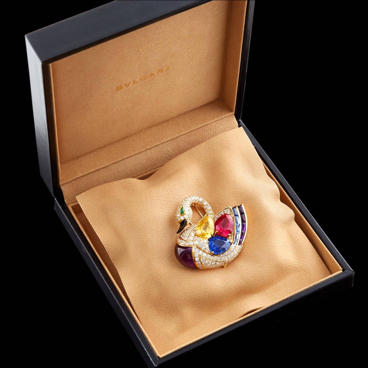 Superb Bulgari Precious Gems Gold Swan Brooch 3