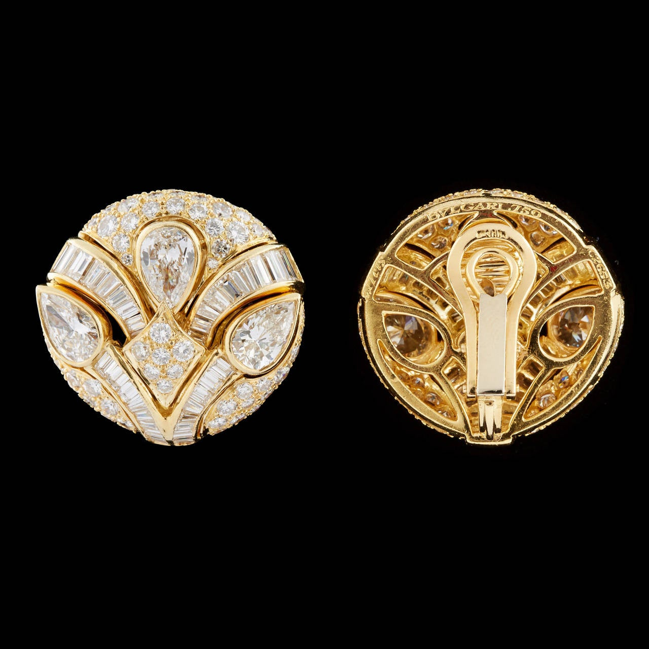 Impressive Bulgari Diamond Button Earrings 4