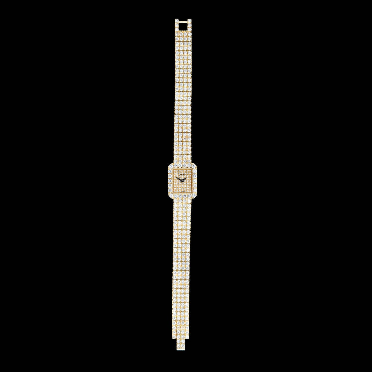 Piaget Lady's Yellow Gold Diamond Pave Wristwatch In Excellent Condition In San Francisco, CA