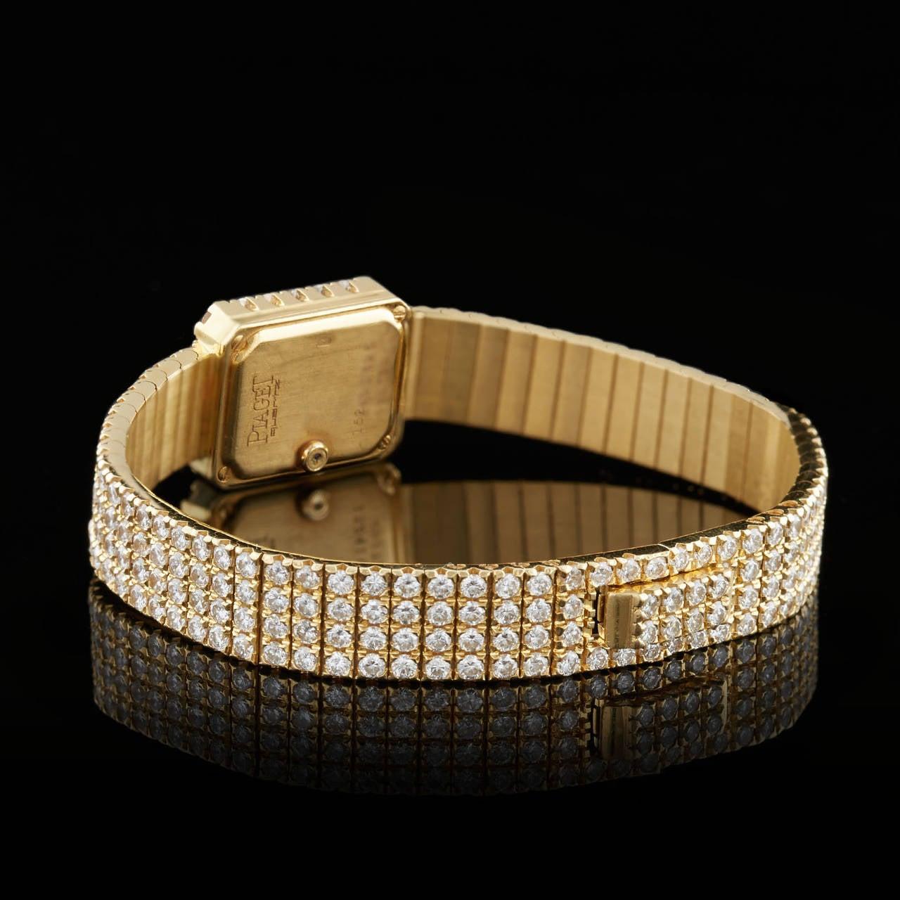 Women's Piaget Lady's Yellow Gold Diamond Pave Wristwatch