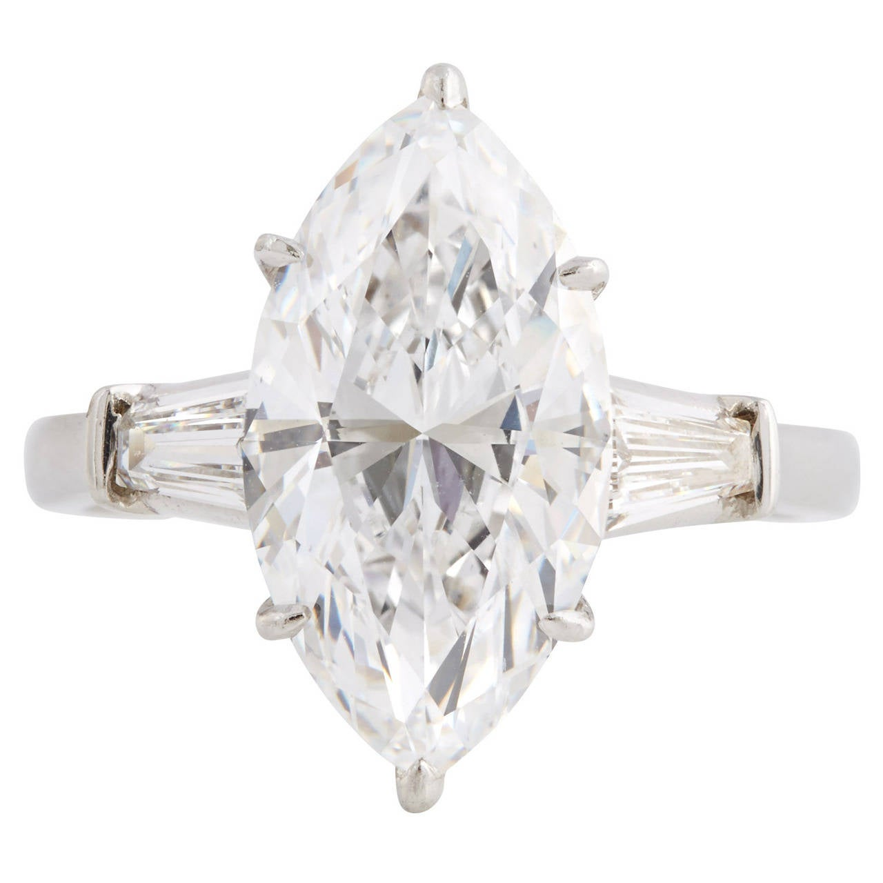 5.02 Carat GIA D Flawless Marquise Cut Diamond Platinum Engagement Ring