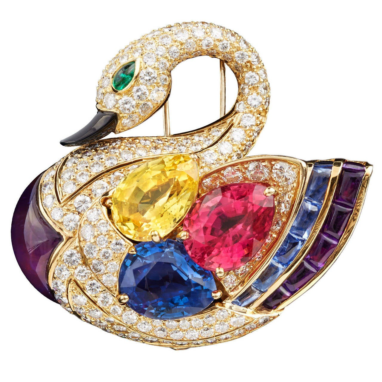 Superb Bulgari Precious Gems Gold Swan Brooch 1