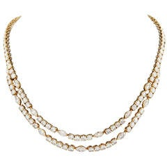 Cartier Navette and Round Brilliant Cut Diamond Multistrand Necklace