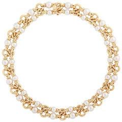 Bulgari Double Strand Akoya Pearl Gold Choker Necklace