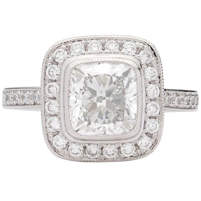 2.02 Carat Cushion Cut GIA Certified Diamond Platinum Ring