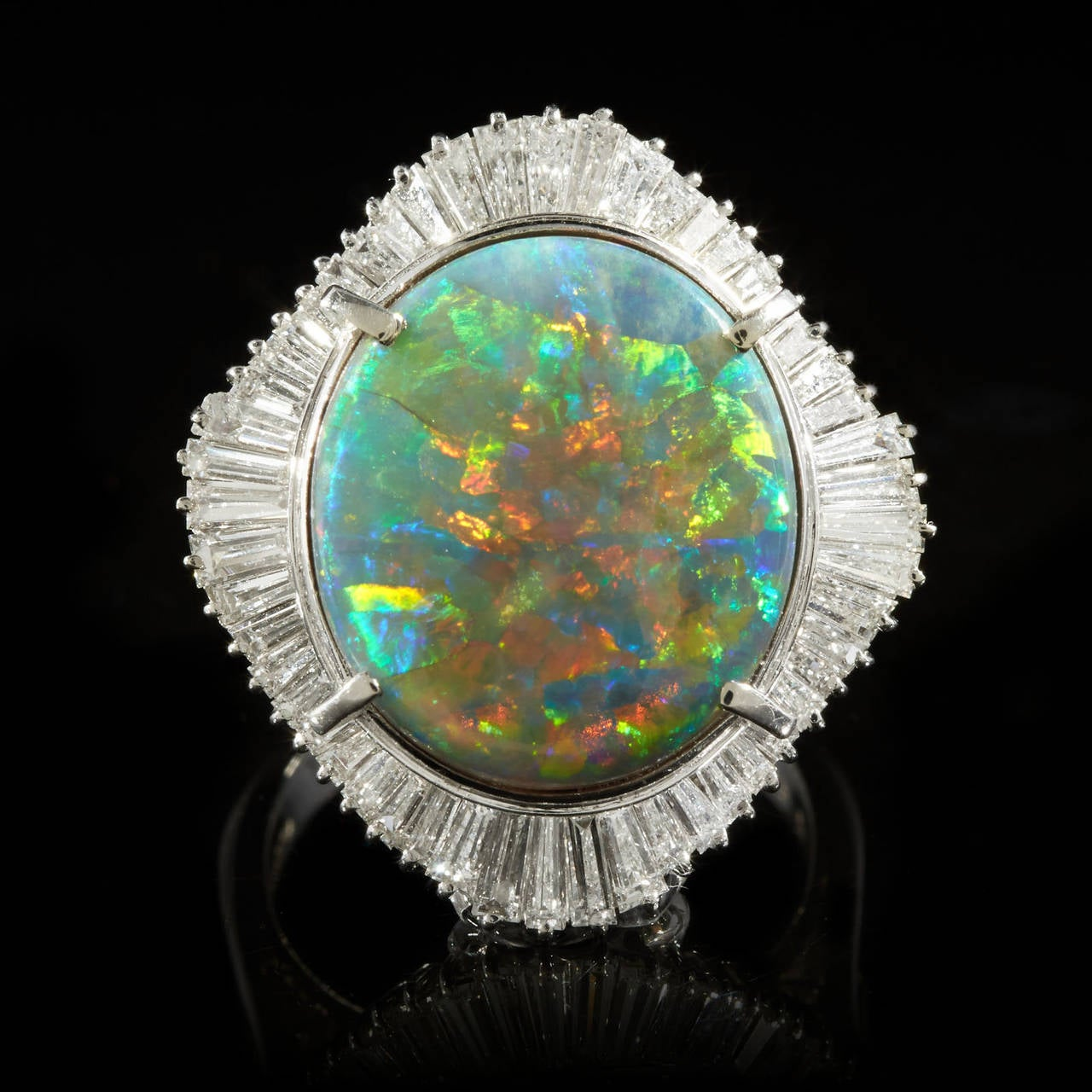 Black Opal Diamond Platinum Cocktail Ring 2