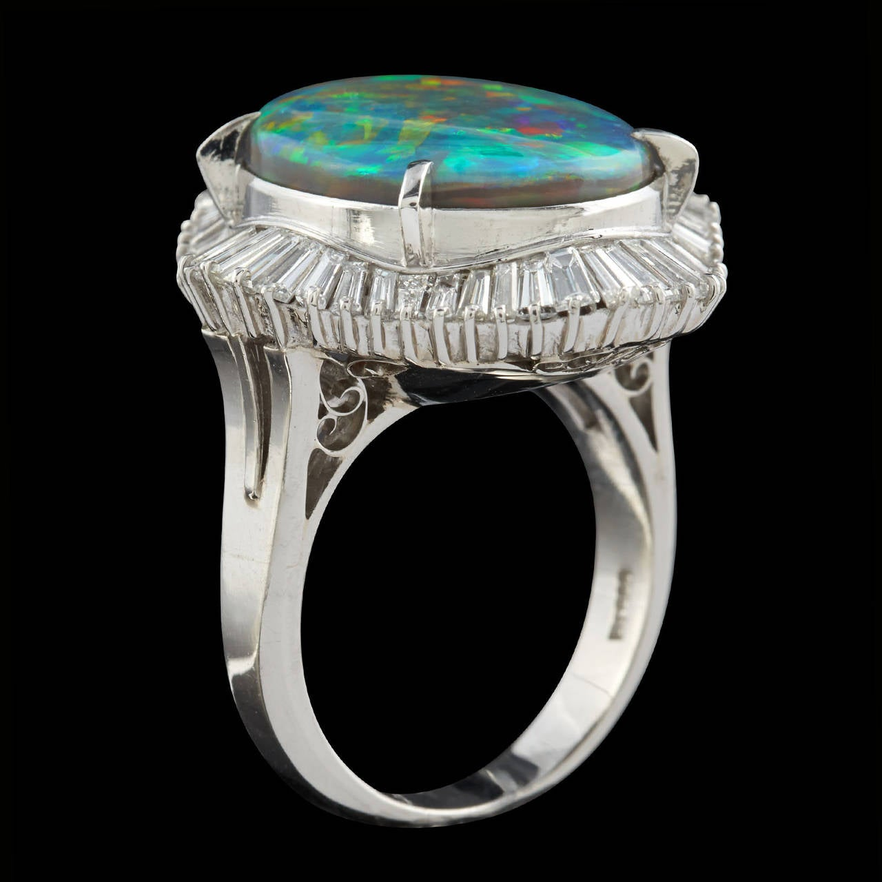 Black Opal Diamond Platinum Cocktail Ring 4