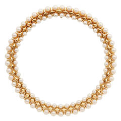 Bulgari Double Row Pearl Gold Choker Necklace