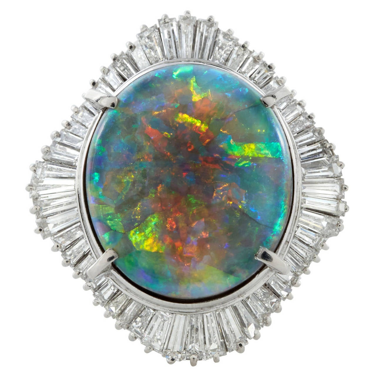 Black Opal Diamond Platinum Cocktail Ring 1