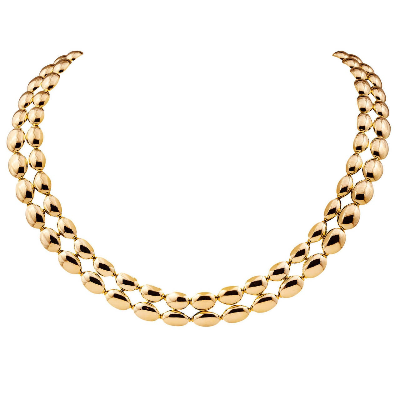 Chaumet Domed Oval Link Gold Necklace