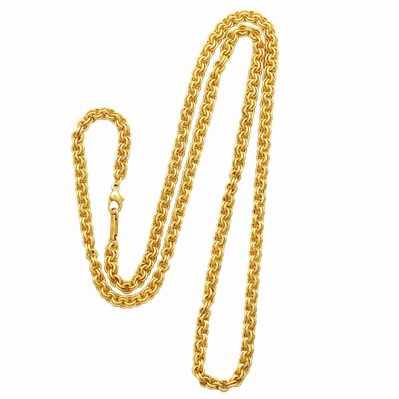 Tiffany & Co. 30 Inch Gold Rolo Link Necklace