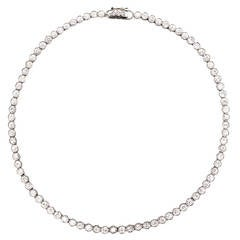 Old Mine Cut Diamond Platinum Line Necklace