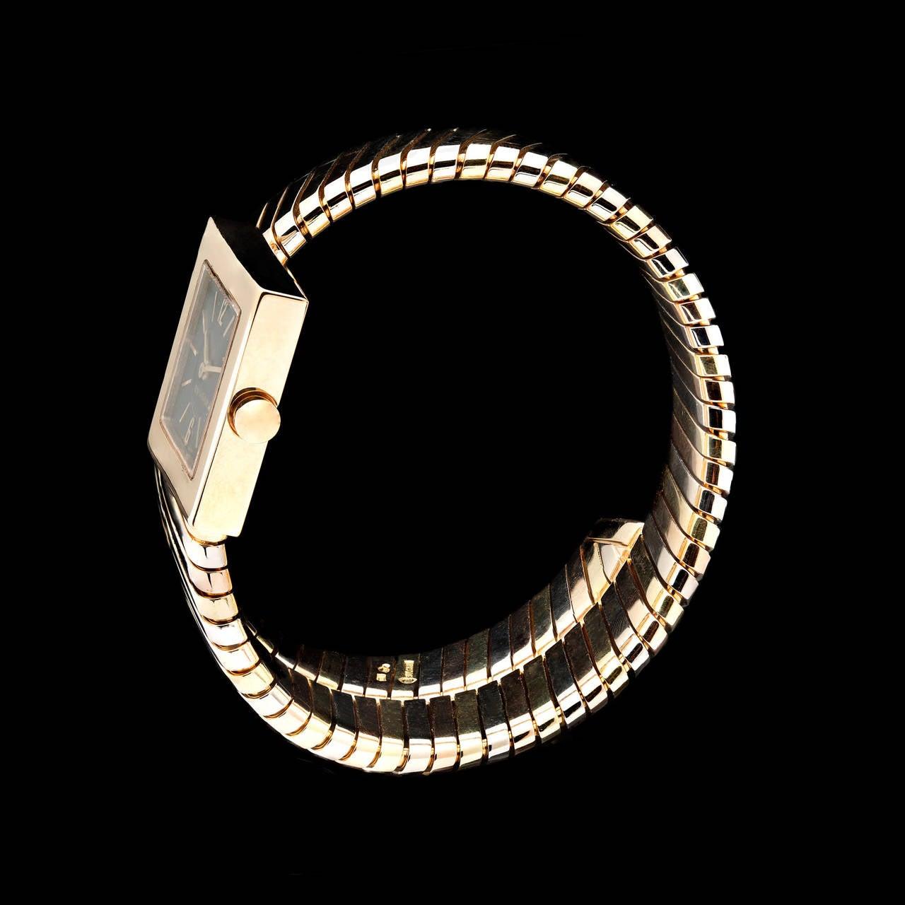 Bulgari Lady's Three Color Gold Quartz Serpenti Wristwatch In Excellent Condition In San Francisco, CA