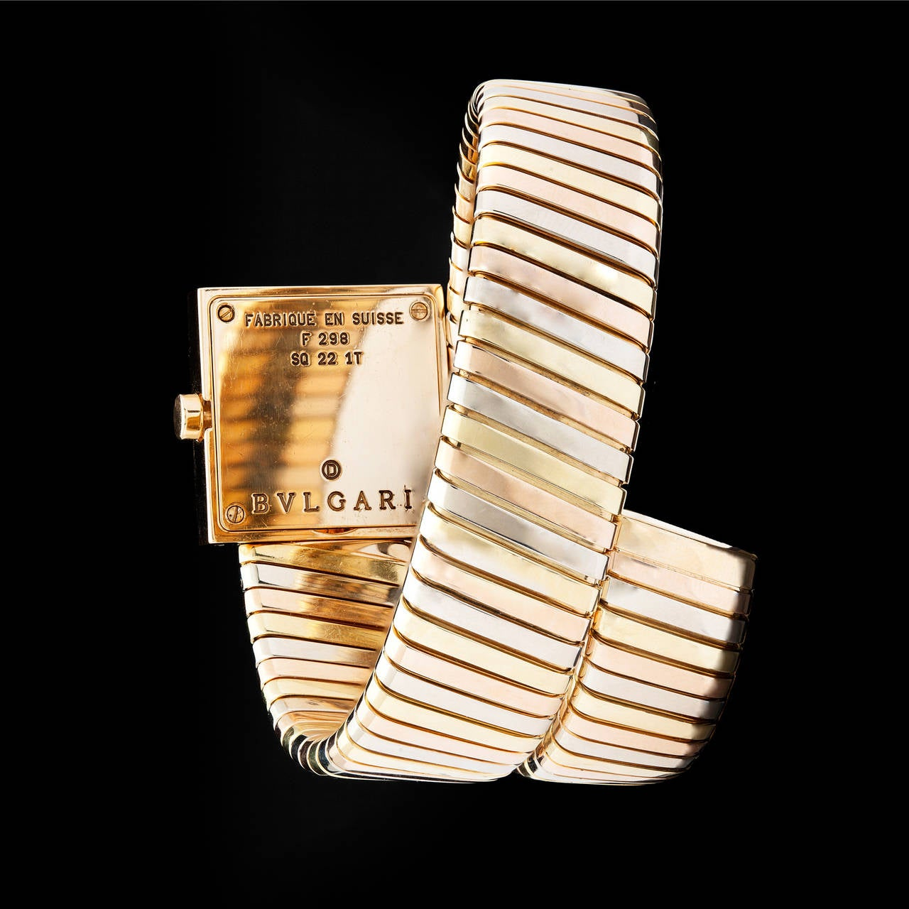 Women's Bulgari Lady's Three Color Gold Quartz Serpenti Wristwatch