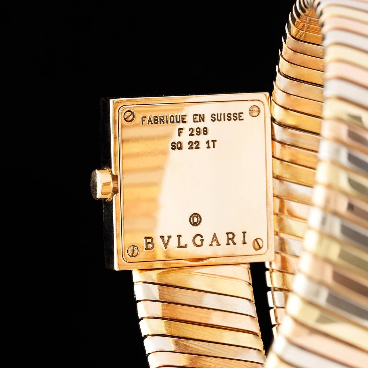 Bulgari Lady's Three Color Gold Quartz Serpenti Wristwatch 1