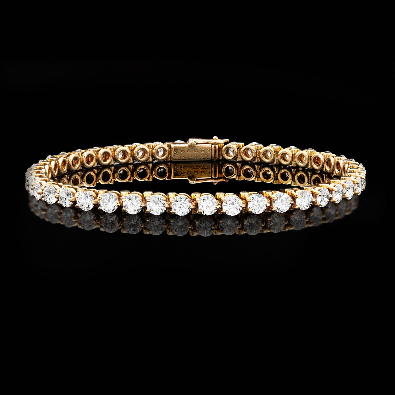 Cartier 6.30 Carat Diamond Gold Tennis Bracelet 2