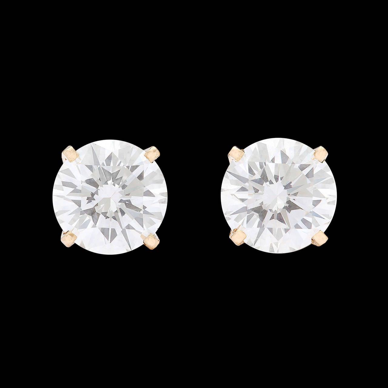 2.04 Carat GIA Cert Round Brilliant Cut Diamond Gold Earrings 2