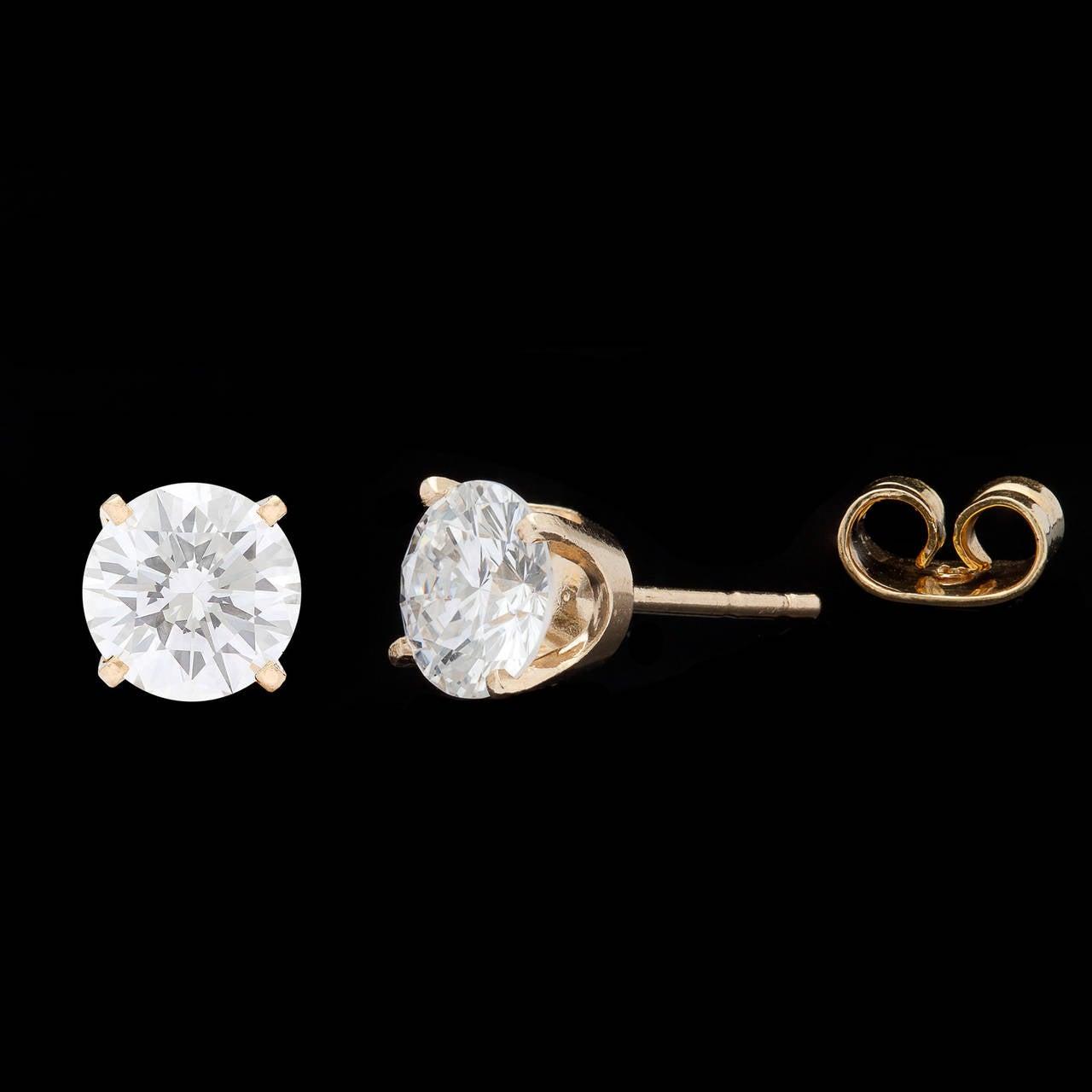 2.04 Carat GIA Cert Round Brilliant Cut Diamond Gold Earrings 3