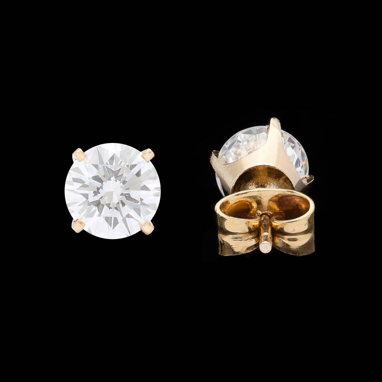 2.04 Carat GIA Cert Round Brilliant Cut Diamond Gold Earrings 4