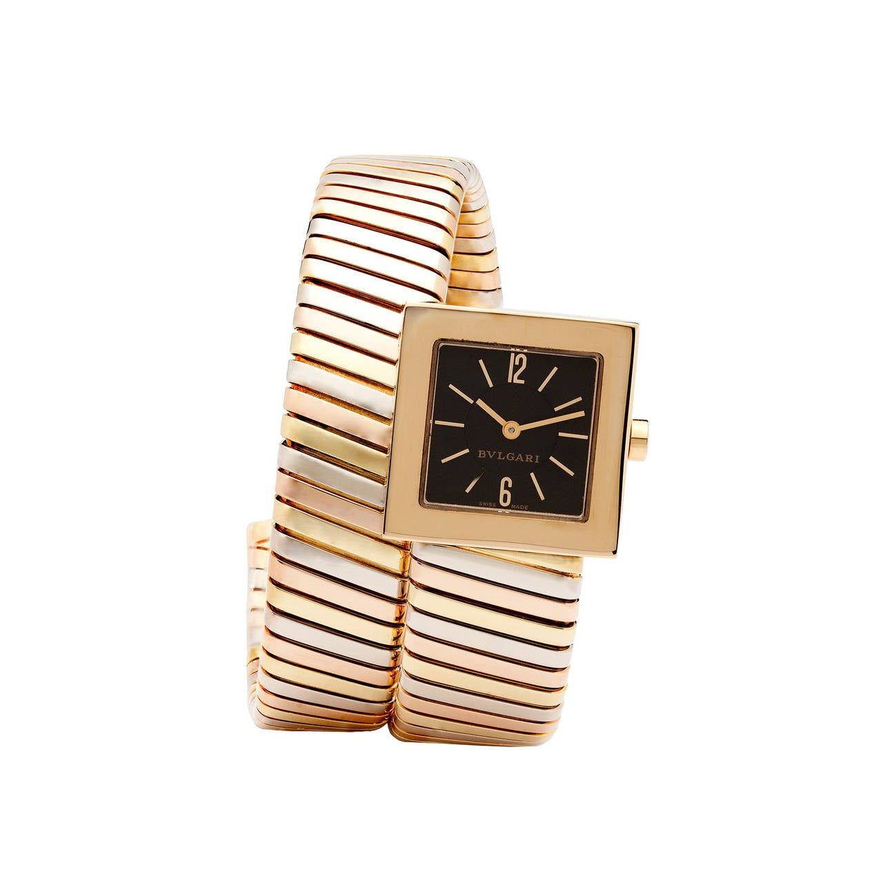 Bulgari Lady's Three Color Gold Quartz Serpenti Wristwatch