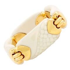 Bulgari Porcelain Gold Chandra Collection Link Bracelet