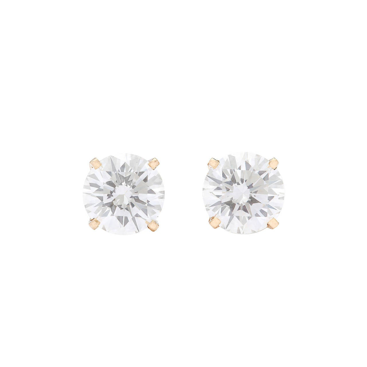 2.04 Carat GIA Cert Round Brilliant Cut Diamond Gold Earrings