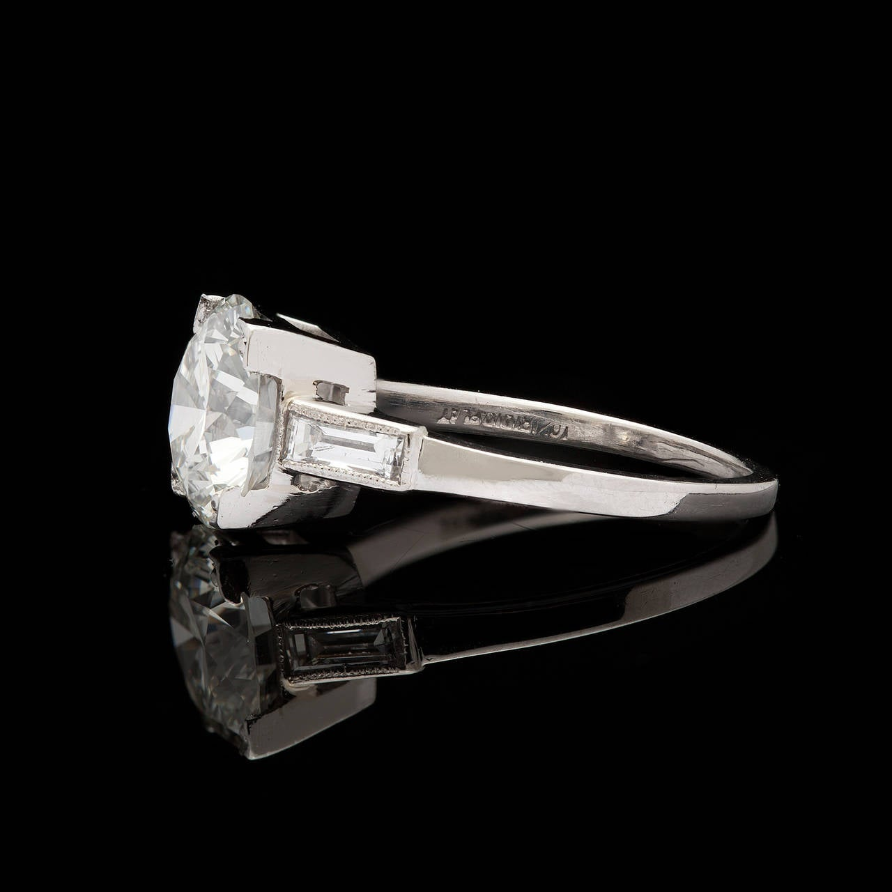 1960s 2 27 Carat GIA Cert Diamond Platinum Engagement Ring at 1stdibs